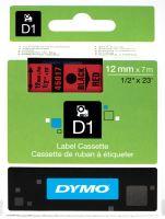 Páska Dymo D1 12 mm černý tisk/červený podklad, 45017, S0720570