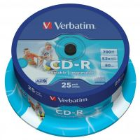 Verbatim CD-R, DataLife PLUS, 700 MB, Wide Printable, cake box, 43439, 52x, 25-pack
