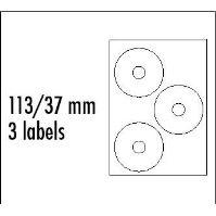Etikety CD 113/37 mm, A4, matné, bílé, 3 etikety, 140g/m2 1