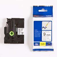Páska Brother TZE-FX221, 9mm, černý tisk/bílý podklad, flexibilní, originál