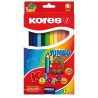 Pastelky 93512 KORES Trojhranné 12 barev JUMBO