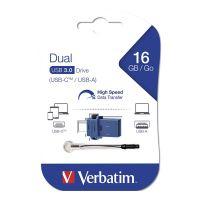 Verbatim USB flash disk OTG, 3.0/3.0 Typ C, 16GB, modrý, 49965, šňůrka