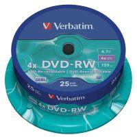 Verbatim DVD-RW, DataLife PLUS, 4,7 GB, Scratch Resistant, cake box, 443639, 4x, 25-pack