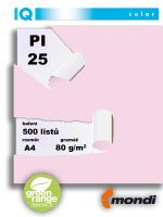 Barevný papír IQ PI 25 A4 80g růžová 1bal/500ks 2