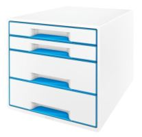 Zásuvkový box Leitz WOW, 4 zásuvky, světle modrý