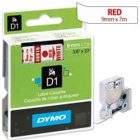 Páska Dymo D1 9mm x 7m, červený tisk/bílý podklad, 40915, S0720700