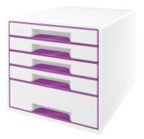 Zásuvkový box Leitz WOW, 5 zásuvek, purpurový