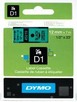 Páska Dymo D1 12 mm černý tisk/zelený podklad, 45019, S0720590