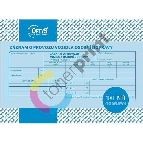 Záznam o provozu vozidla osobní dopravy A5, číslovaný, 100 listů, OP1177 1