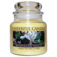 Cheerful Candle Vonná svíčka ve skle Zimolez a Vanilka - Honeysuckle Vanilla, 16oz