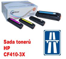 Sada tonerů HP CF410X-3X, CMYK, MP print + dálniční známka