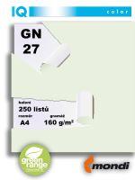 Barevný papír IQ GN 27 A4 160g světle zelený 1bal/250ks 2