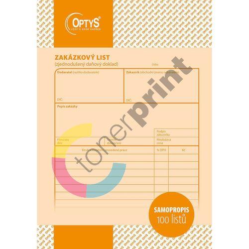 Zakázkový list A5, samopropisovací, 100 listů, OP1085 1