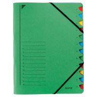 Třídící desky Leitz s gumičkou, 12 přihrádkové, zelené