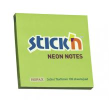 Samolepící bloček Stick'n 76x76mm, neon zelená, 100 lístků