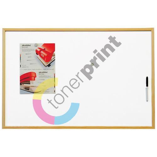 Magnetická bílá tabule 40 x 60 cm, dřevěný rám 1