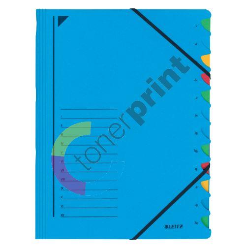 Třídící desky Leitz s gumičkou, 12 přihrádkové, modré 1